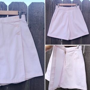 Pants - Vintage-retro style skort, light pink, high waist